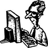 Dřevoryt ilustrace webmaster nebo blbeček