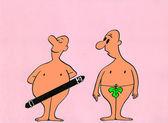 Karikatura. primitivní závisti