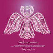 Wedding invitation decorated with lace shining angel