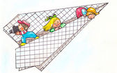 Bambini giocando felicemente su un aereo di carta