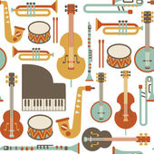 Seamless pattern with jazz instruments isolated on white