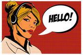 Dívka operátor call centra. komiks styl