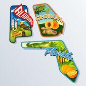 Retro suitcase stickers of united States Alabama Georgia Florida