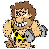 Cartoony brown bearded caveman fixing his body weight training