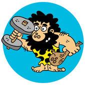 Cartoony bearded caveman fixing his body weight training