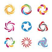 Abstraktní sociální smyčky kruh loga a ikony šablony, lidské komunikace, partnerství a interakce ve Společenství a internetová média a sítě