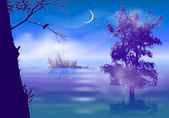Night landscape with fog and trees submerged in water