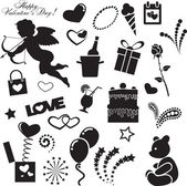 27 vector black images by day of Valentine on a white background