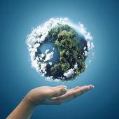 Planetenerde in Händen