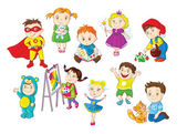 A set of illustrations depicting younger kids doing different activities