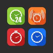 Ploché ikony pro web a mobilní aplikace s hodinami