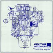 Drawing old engine on graph paper.