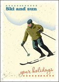 Winter background Skier slides from the mountain