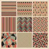 Seamless geometric retro background set Patterns Vector