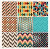 Seamless geometric hipster background set Retro Patterns Vector