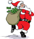 Santa Claus delivering a sack full of money