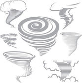 Clip art collection of various tornado symbols and icons
