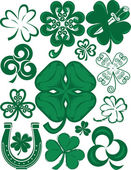 Clip art collection of various types of shamrock or clover