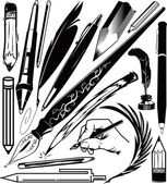 Clip art collection of various pens and pencils