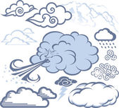 Clip art collection of cloud icons and symbols
