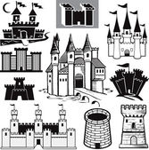 Clip art collection of castle icons and symbols