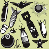 A clip art collection of various bomb icons and art