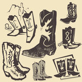 Clip art collection of various cowboy boots