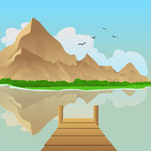 Summer landscape vector illustration with lake and mountain in background
