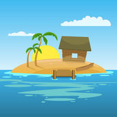 Tropical island with palms and hut Cartoon vector illustration