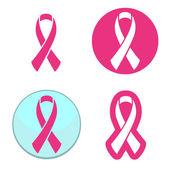 Vektor-készlet rózsaszín szalagok szimbólumok mell rák tudatosság