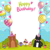 Happy Birthday card background with a cat dog and cupcakes Vector holiday background for your invitation design
