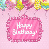 Cute cartoon Happy Birthday card with balloons and lettering Holiday vector background