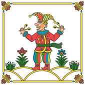 Russian traditional popular print style jester (skomorokh) Vector illustration easy editable