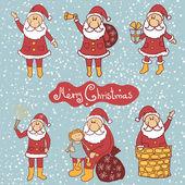 Doodle set di Babbo Natale, raccolta di illustrazione vettoriale