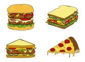 Hamburger sandwich pizza theme illustration