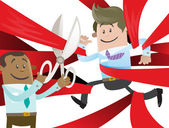 Ethnic Business Buddy is Cut Free from Red Tape Vector illustration of Ethnic Business Buddy clearly very happy to be set free from the bureaucratic red tape that he's got caught up in
