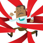 Ethnic Business Buddy is caught up in Red Tape Vector illustration of Ethnic Business Buddy clearly very distressed with the bureaucratic red tape that he's got caught up in