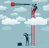 Abstract Businessman gets a better view Great illustration of Retro styled Businessman climbing above the clouds to get a better view of the landscape than his competitors