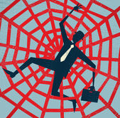 Abstract Businessman caught in a Spiders Web Vector illustration of Retro styled Abstract Businessman caught up in a bureaucratic Spiders Web
