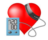 Cuore e pressione sanguigna monitor su sfondo bianco