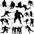 Постер, плакат: Hockey players silhouette