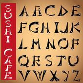 Font made under the Japanese hieroglyphs design alphabet Clip arts for Your design Vector