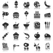 Black food icons set with reflection