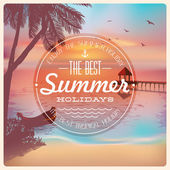 Vintage card with a beautiful sunset tropical beach Retro elements for Summer calligraphic designs Vintage ornaments Best summer holidays labels Vector EPS 10