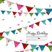 Vector birthday card with confetti and bunting flags.