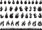 Set of black flames illustrated on white background