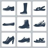 Vektorové ikony nastavit izolované boty