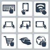 Vektor kezek és technológia ikonok beállítása