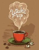 Доброго ранку прокидатися кави Кубок Векторні ілюстрації