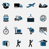 Logistic transportation service icons set of shipping delivery and supply chain isolated vector illustration